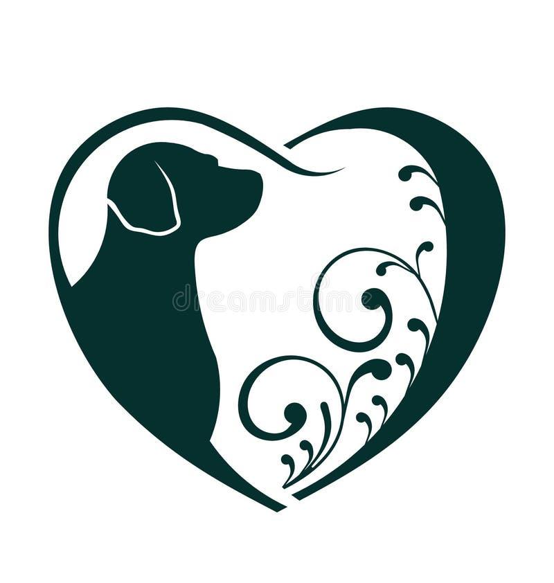 Het veterinaire Heart-embleem van de hondliefde vector illustratie
