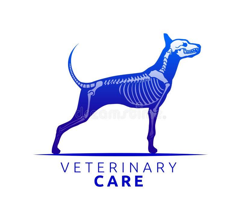 Het veterinaire Ontwerp van het Zorgembleem, van de de Hondzorg van het Beenaftasten de vectorillustratie royalty-vrije illustratie