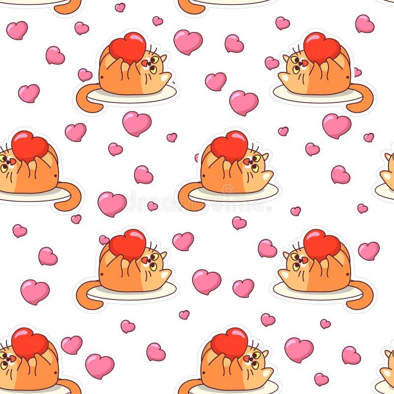 Het vette kat spelen met hart naadloos patroon De dag vectorontwerp van Valentine ` s royalty-vrije illustratie