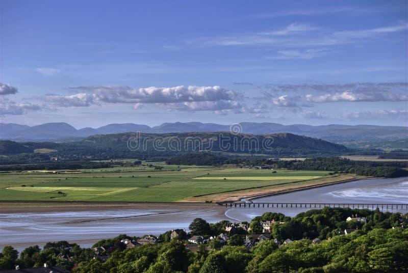 Het Viaduct van Arnside en het District van het Meer Fells royalty-vrije stock foto's