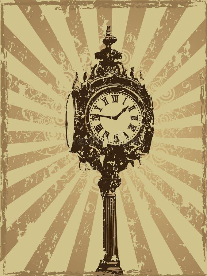 Het Victoriaanse Ontwerp van Grunge van de Klok royalty-vrije stock afbeelding