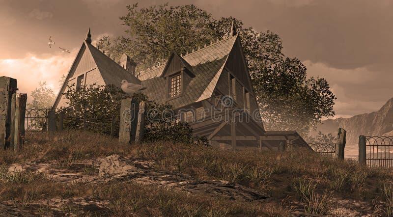Het Victoriaanse Plattelandshuisje van de kust stock illustratie