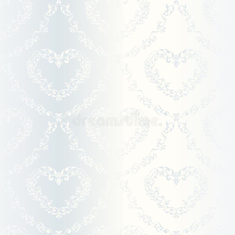 Het Victoriaanse witte patroon van het satijnhuwelijk met harten stock illustratie