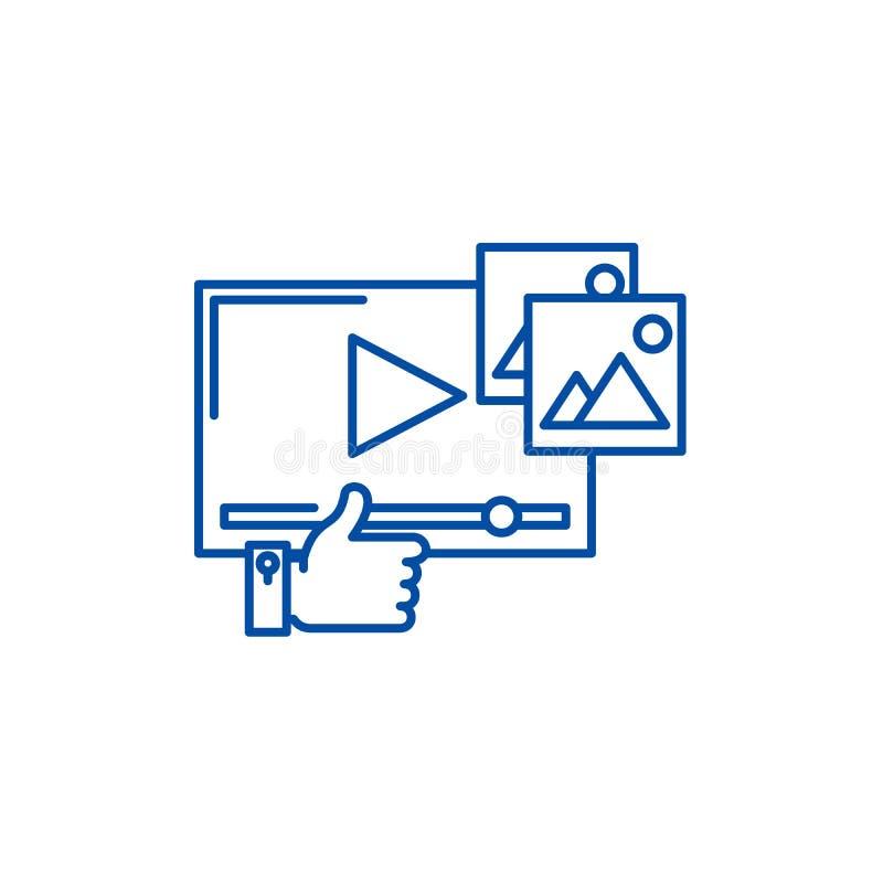 Het video marketing concept van het lijnpictogram Video die vlak vectorsymbool, teken, overzichtsillustratie op de markt brengen stock illustratie