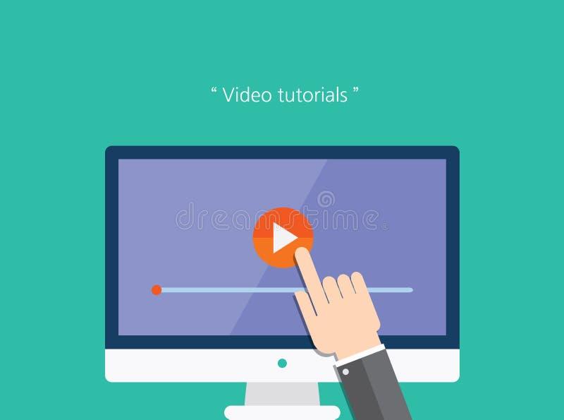 Het video vlakke pictogram van het leerprogramma'sconcept vector illustratie