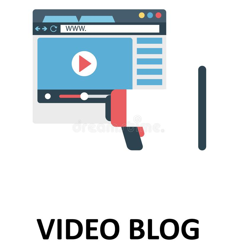 Het videoblog Geïsoleerde Pictogram van de Kleuren Vectorillustratie vector illustratie