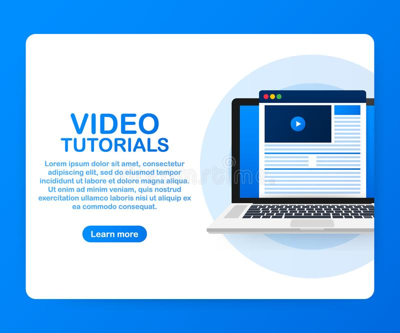 Het videoconcept van het leerprogramma'spictogram Studie en het leren achtergrond, afstandsonderwijs en de kennisgroei royalty-vrije illustratie