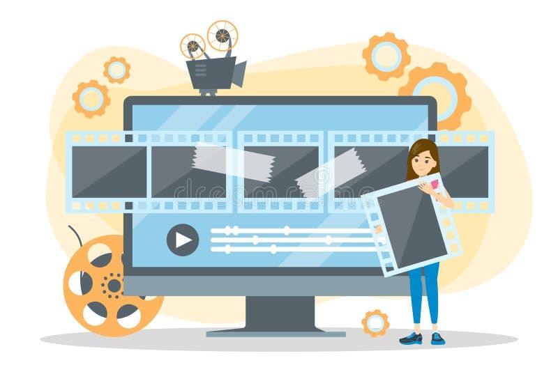 Het videoconcept van het productieproces Film en bioskoop vector illustratie