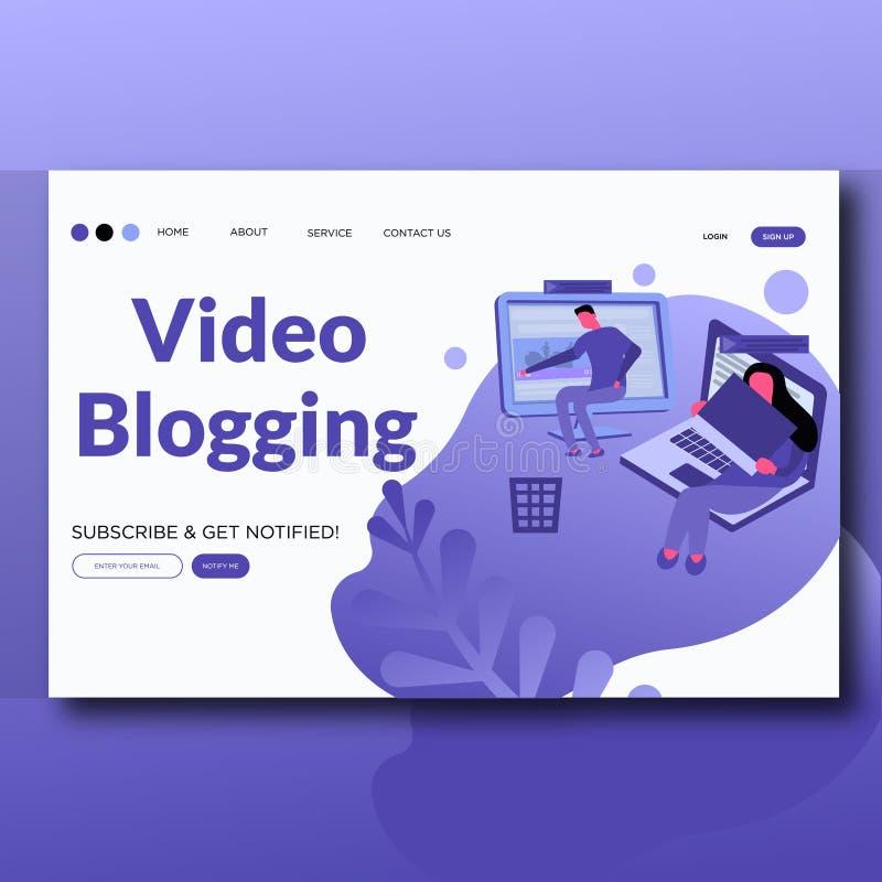 Het videolandingspagina van de de stijl moderne vectorillustratie van Blogging- Vlakke vector illustratie