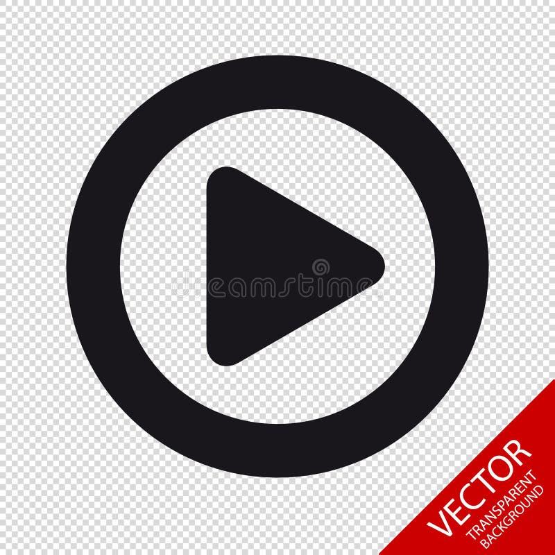 Het videomedia Vlakke die Pictogram van de Spelknoop voor Apps en Websites - op Transparante Achtergrond wordt geïsoleerd royalty-vrije illustratie
