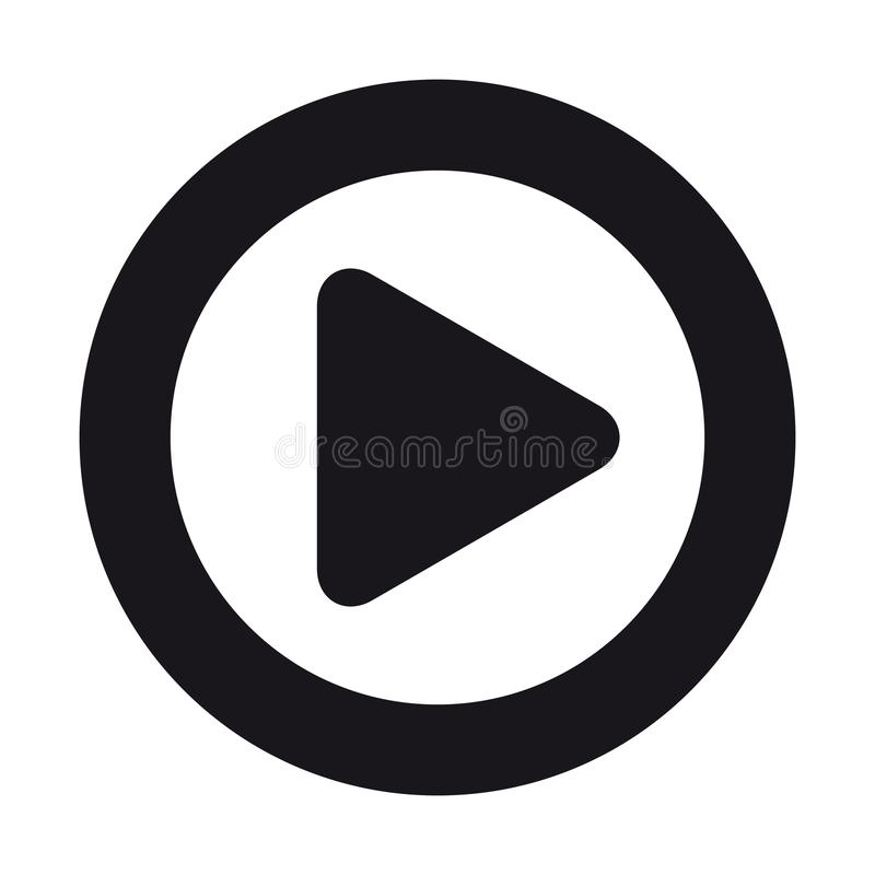 Het videomedia Vlakke die Pictogram van de Spelknoop voor Apps en Websites - op Wit wordt geïsoleerd vector illustratie