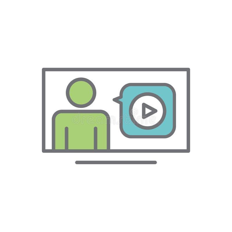 Het videoonderwijs en opleiding - informatie videopictogram/videoknoop royalty-vrije illustratie