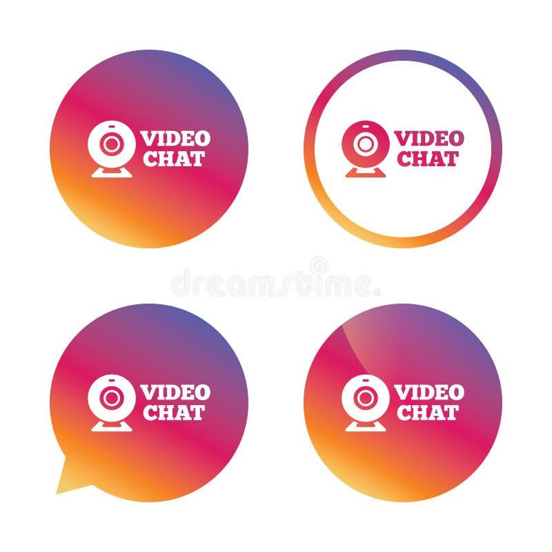 Het videopictogram van het praatjeteken Webcam videobespreking stock illustratie
