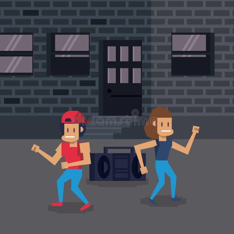 Het videospelletjelandschap van de Pixelatedstad vector illustratie