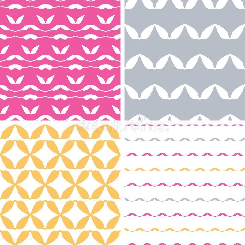 Het vier bstractblad geeft geometrische patronenachtergronden gestalte vector illustratie