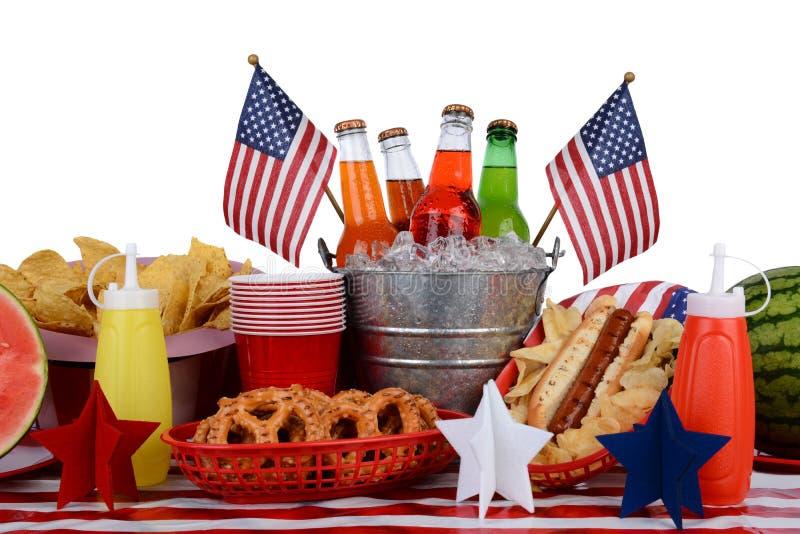 Het Vierde van de picknicklijst van Juli-Thema stock afbeelding