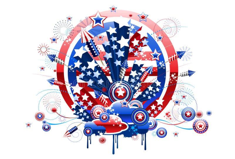 Het Vierde van het vuurwerk van Juli vector illustratie