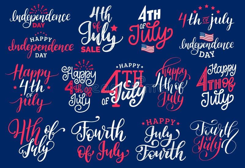 Het vierde van Juli, met de hand geschreven uitdrukkingen plaatste voor groetkaart, banner enz. Vectorkalligrafieinzameling voor  stock illustratie