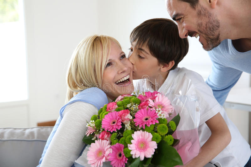Het vieren de dag van de moeder stock fotografie