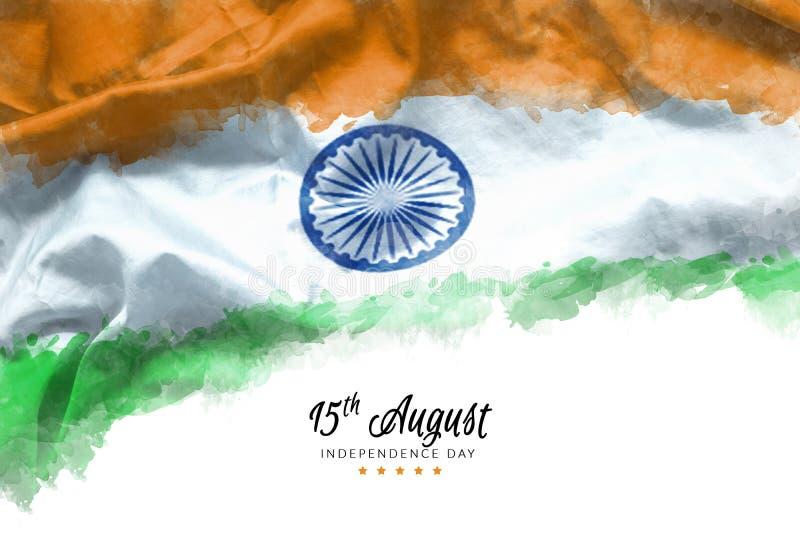 Het vieren India de groetkaart van de Onafhankelijkheidsdag met Indische golvende vlag grunge door de verfachtergrond van de wate royalty-vrije stock foto's
