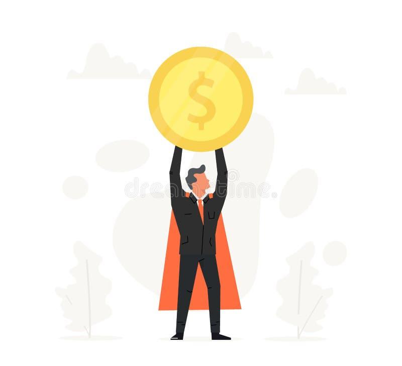 Het vieren het muntstuk van de zakenmanholding over zijn hoofd Bedrijfsillustratie in vlak ontwerp Succes, kampioen, overwinning royalty-vrije illustratie