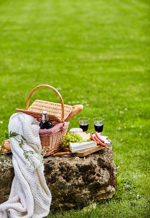 Het vieren in openlucht in een park met rode wijn royalty-vrije stock afbeeldingen