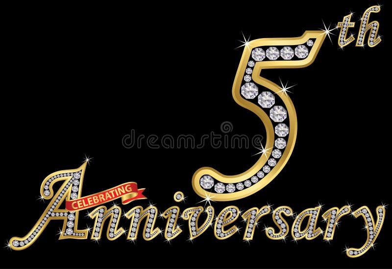 Het vieren van 5de verjaardags gouden teken met diamanten, vector i stock illustratie