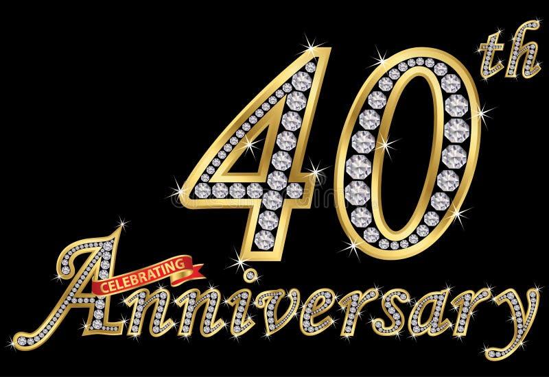 Het vieren van 40ste verjaardags gouden teken met diamanten, vector vector illustratie