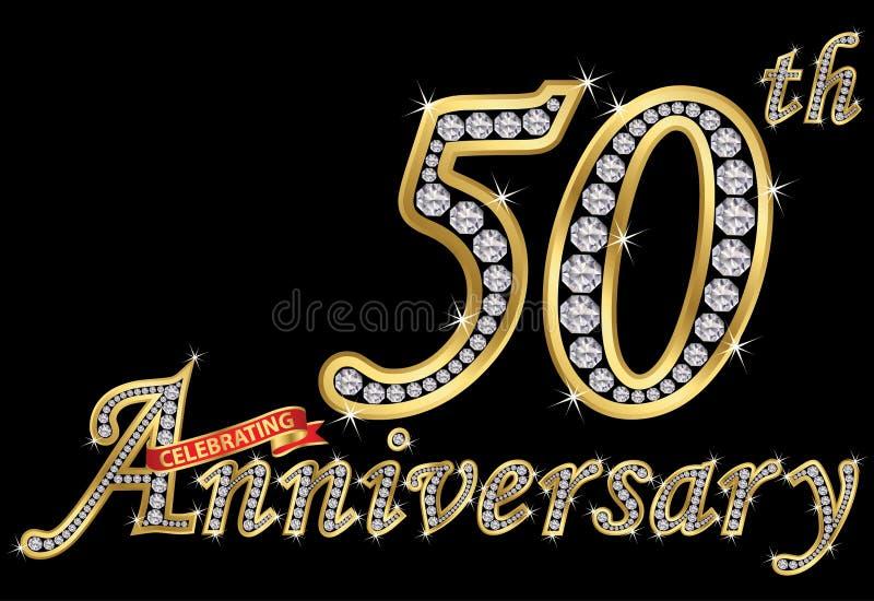 Het vieren van 50ste verjaardags gouden teken met diamanten, vector vector illustratie