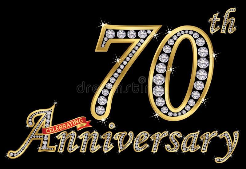 Het vieren van 70ste verjaardags gouden teken met diamanten, vector vector illustratie