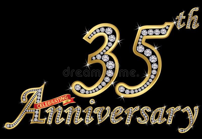 Het vieren van 35ste verjaardags gouden teken met diamanten, vector stock illustratie