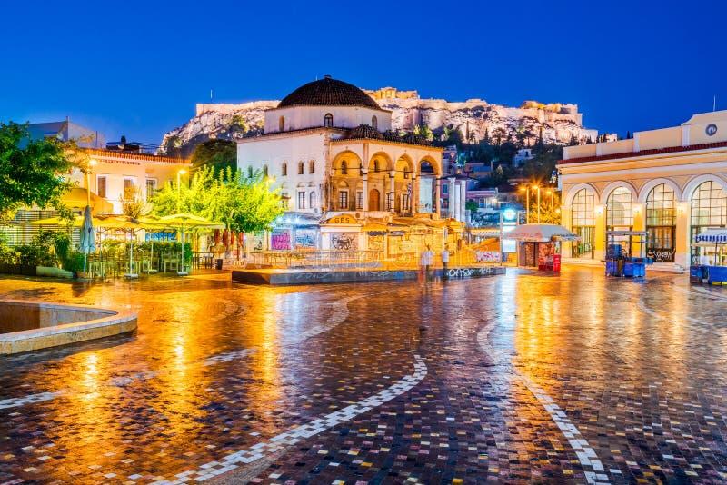 Het Vierkant van Athene, van Griekenland - Monastiraki-en Akropolis stock afbeeldingen