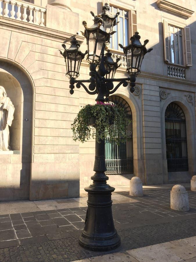 Het vierkant van Barcelona townhall stock afbeeldingen
