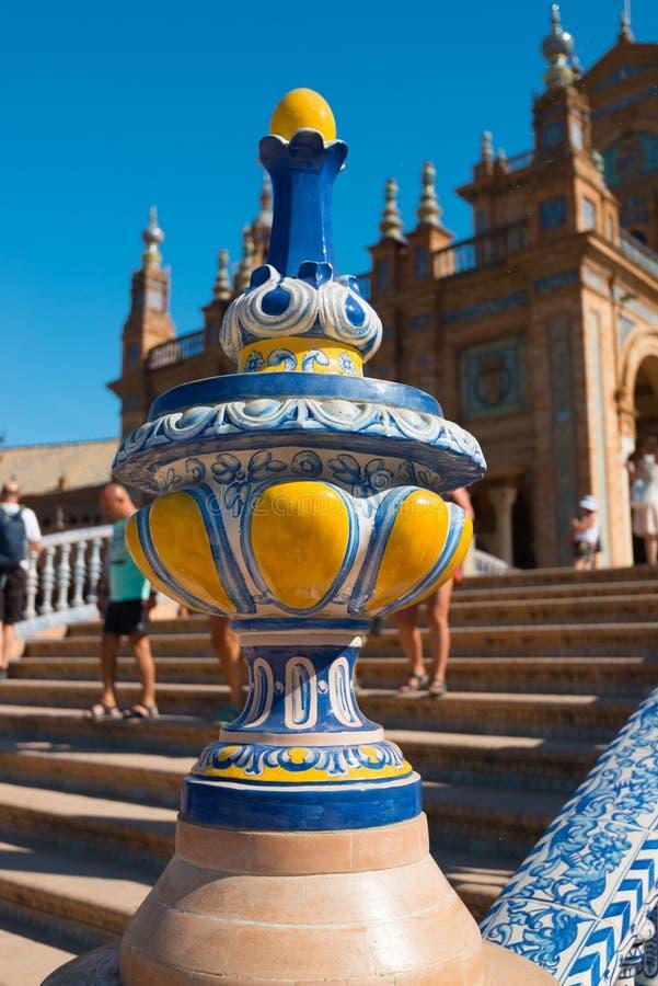 Het Vierkant van brugspanje, Plaza DE Espana, Sevilla stock foto