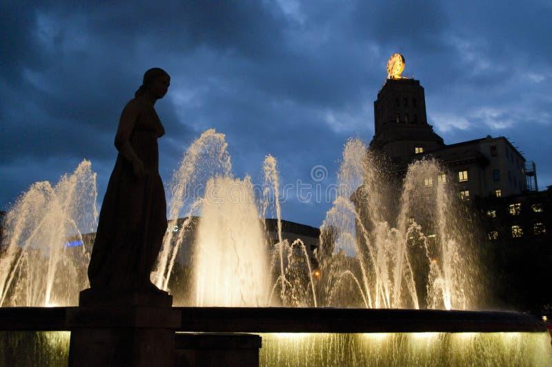 Het Vierkant van Catalonië, Barcelona, Catalonië, Spanje stock fotografie