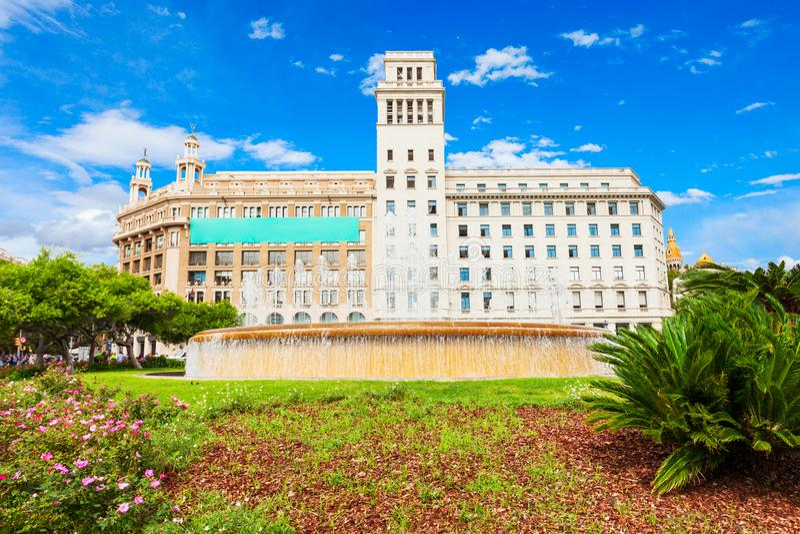 Het Vierkant van Catalonië in Barcelona, Spanje stock afbeelding