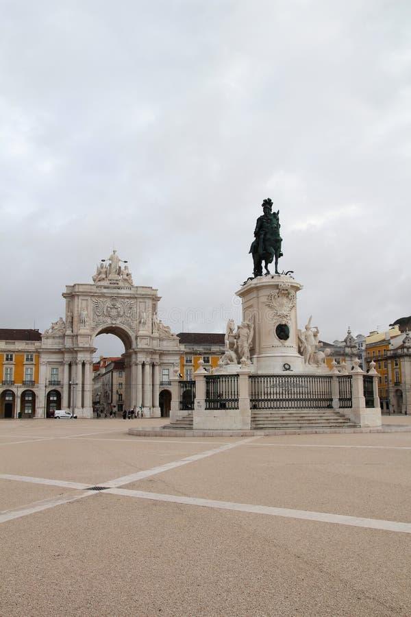 Het Vierkant van de handel, Lissabon, Portugal stock fotografie