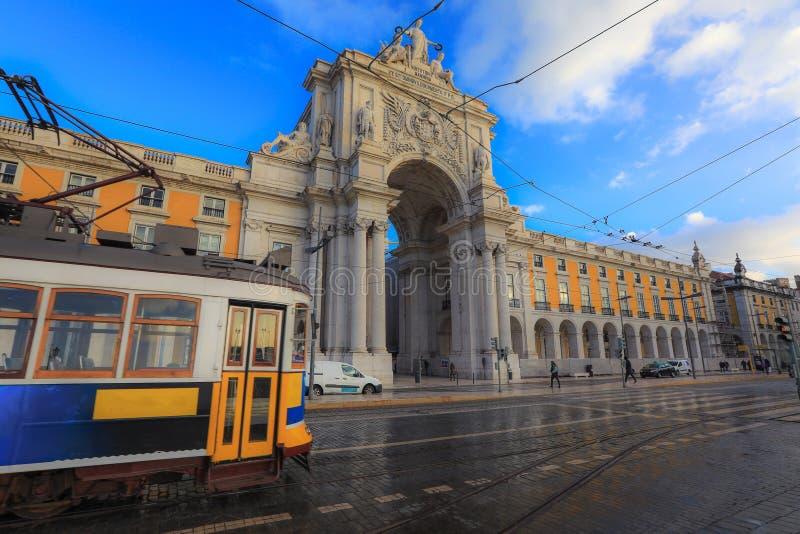 Het vierkant van de handel in Lissabon, Portugal stock foto's
