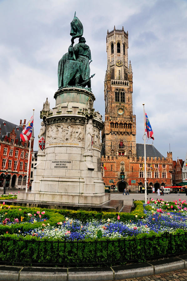Standbeeld op Markt, Brugge, België royalty-vrije stock foto's