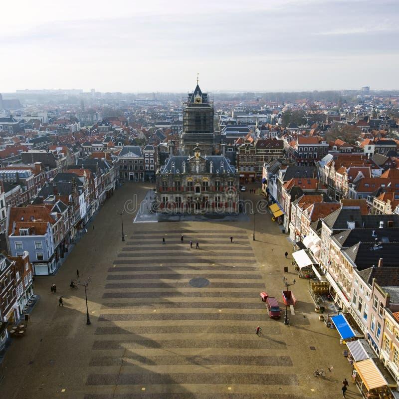 Het vierkant van de Markt van Delft royalty-vrije stock afbeeldingen