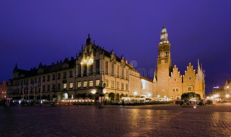 Het vierkant van de Markt, Wroclaw in Polen stock foto