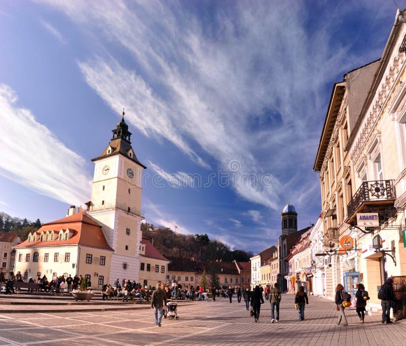 Het vierkant van de Raad, Brasov, Roemenië stock afbeelding