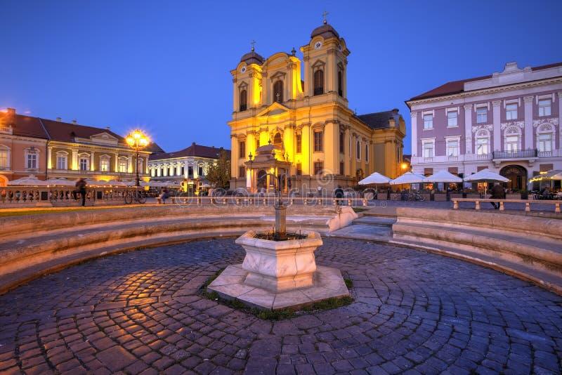 Het vierkant van de Unie, Timisoara, Roemenië stock afbeelding