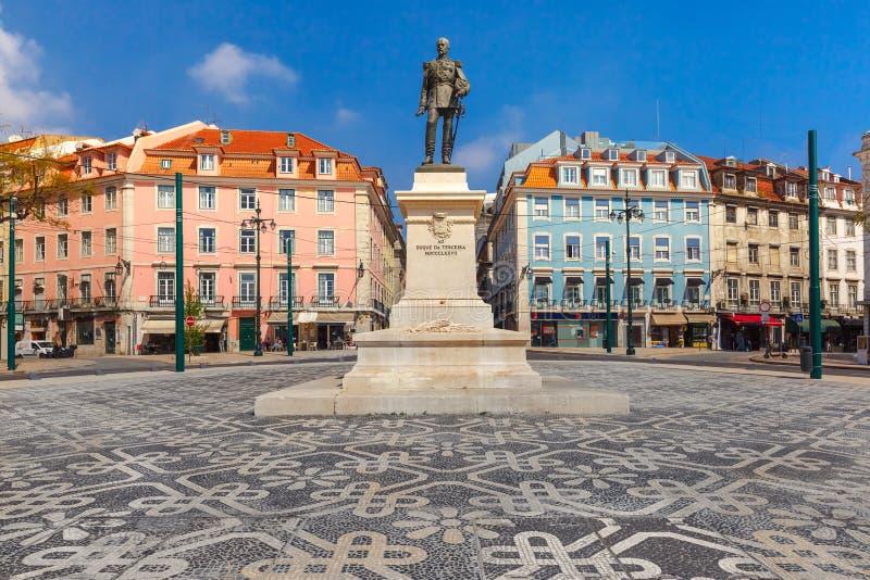 Het Vierkant van Duqueda Terceira in Lissabon, Portugal stock foto