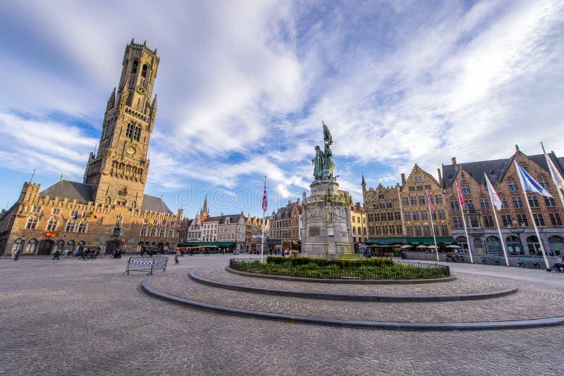 Het vierkant van Grotemarkt in Brugge royalty-vrije stock foto's
