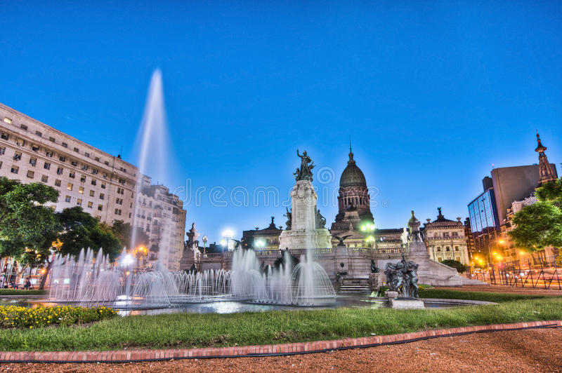 Het vierkant van het congres in Buenos aires, Argentinië royalty-vrije stock foto