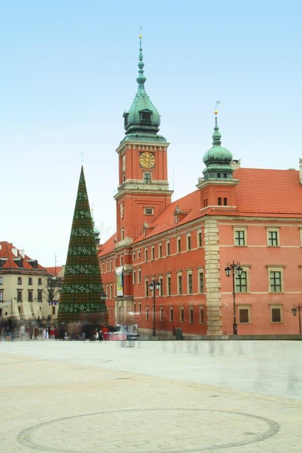 Het Vierkant van het kasteel in de oude stad - Warshau, Polen stock foto's