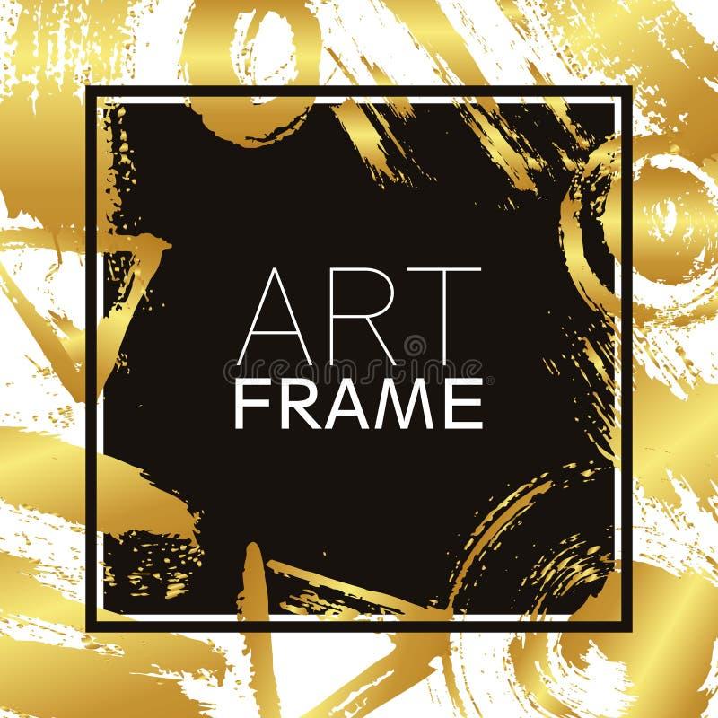Het vierkant van het kunstkader Gouden gradiëntelementen Borstelslagen voor de achtergrond van affiche Modern ontwerp Hand - gema vector illustratie
