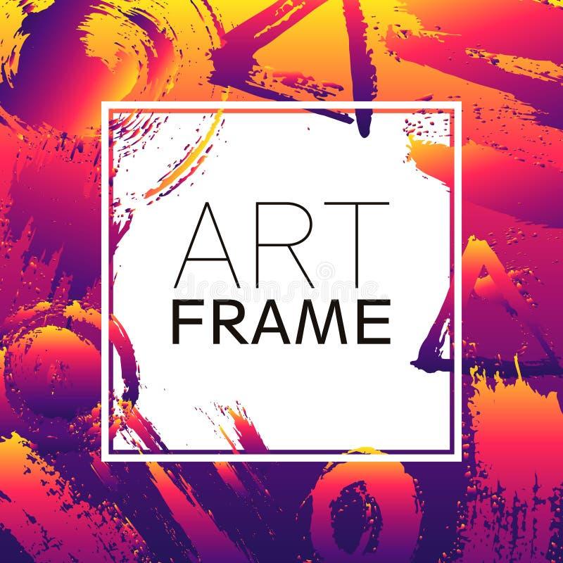 Het vierkant van het kunstkader Gradiënt gele violette kleurenelementen Borstelslagen voor de achtergrond van affiche Modern ontw stock illustratie