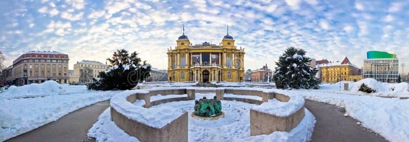 Het vierkant van hofmaarschalkTito in het panorama van Zagreb stock afbeelding